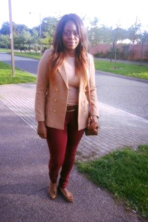 camel H&M blazer - camel blazer - brown unknown shoes - brick red Primark jeans
