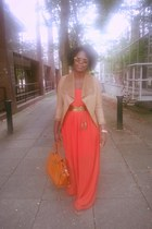 carrot orange Topshop dress - camel new look jacket