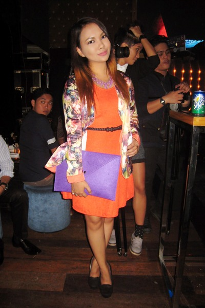 orange Bazaar dress - turquoise blue apartment8 blazer - purple Grab Bag bag