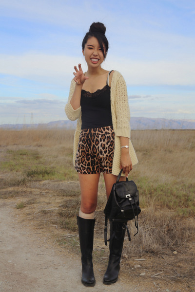 black leather Nordstrom boots - dark brown Choies shorts