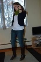 Me scarf - Old Navy blazer - Anne Klein boots - Express jeans