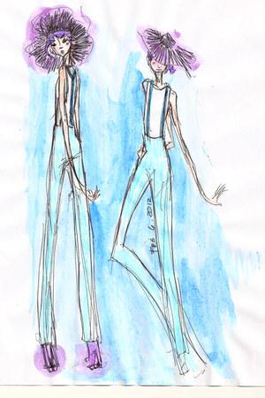 amethyst doodled hat - sky blue doodled jumper - white doodled t-shirt