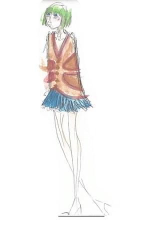 chartreuse manicpanic hat - blue doodled skirt - burnt orange doodled cape