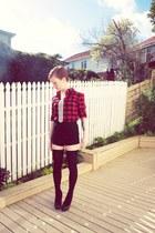 black asos shorts - black asos socks - red Ebay blouse - black Wildpair heels
