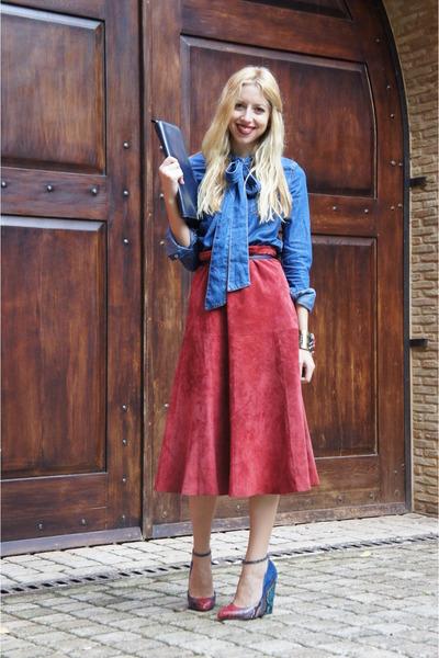 vintage skirt - asos shirt - asos wedges