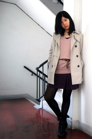beige local boutique coat - black Bulluci boots - deep purple Body&Soul dress
