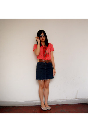 salmon local shop shirt - hot pink thrifted scarf - navy local shop skirt - silv