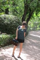 green Zara t-shirt - asos bag - Tom Ford sunglasses - leopard asos heels