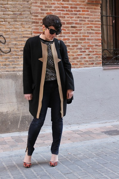 zalando coat - Zara jeans - Zara sweatshirt - Zara heels - asos earrings