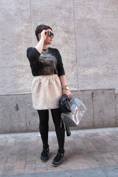 Zara skirt - Furla bag - MINUSEY necklace - Zara sweatshirt