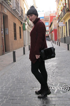 Zara boots - asos hat - Zara leggings - Zara bag - Zara jumper