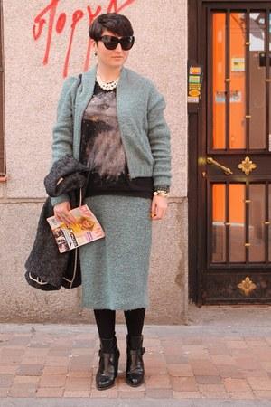 asos jacket - Zara boots - asos skirt - Zara sweatshirt