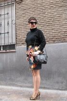 Oasis skirt - Zara bag - H&M jumper - dune heels