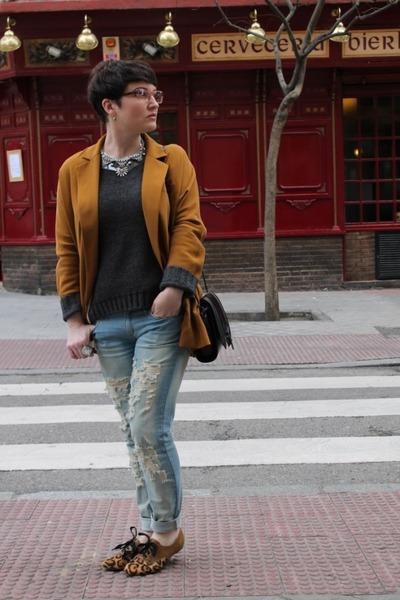 Mango necklace - Mango jeans - Zara jacket - Maje jumper - Bimba y Lola flats