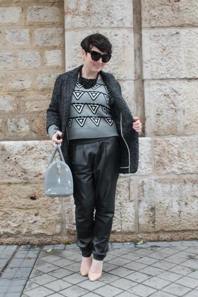 Mango coat - Furla bag - Mango heels - Choies jumper - Mango pants