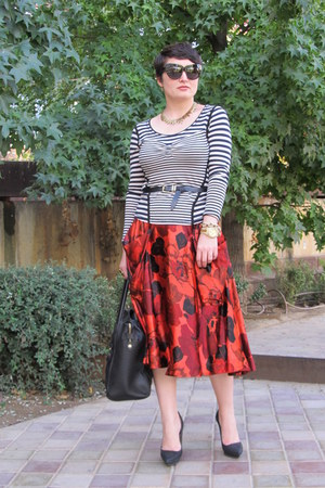 H&amp;M skirt - Zara heels - karen millen t-shirt - Uterqe belt