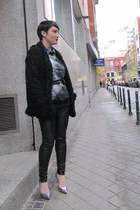 H&M leggings - River Island coat - H&M shirt - Choies sweatshirt - Zara heels