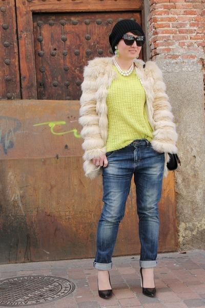 Topshop jumper - asos coat - Bershka jeans - Zara heels