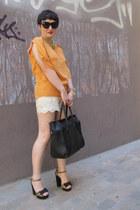 Zara blouse - modcloth shorts - asos sandals - H&M necklace
