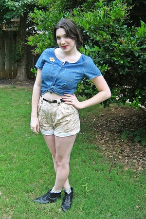 black leather thrifted boots - beige floral print thrifted shorts - black leathe
