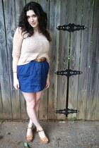blue denim Forever21 dress - nude H&M top - bronze wooden xhilaration heels