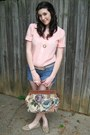Violet-embroidered-thrifted-purse-blue-denim-thrifted-shorts-heather-gray-le