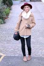 camel jaeger coat - chelsea Topshop boots - berry Primark hat - Mulberry bag
