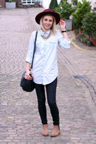 denim Topshop shirt - chelsea Topshop boots - fedora Primark hat