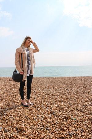 stripe tunic Topshop dress - nude leather Zara jacket