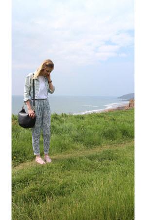 white lace River Island top - cropped denim Topshop jacket - patterned H&M pants