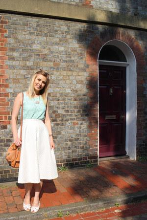white midi Topshop skirt - tillie satchel Mulberry bag