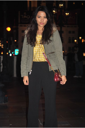 banana republic top - Express jacket - ann taylor pants - Rampage bag