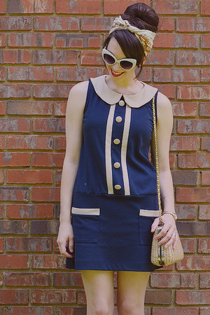 navy drop-waist monteau dress - brown thrifted floral scarf - eggshell purse