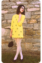 black bowler Charming Charlie hat - yellow Choies dress
