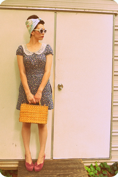 bronze thrifted basket purse - navy dearest diarist chuti dress