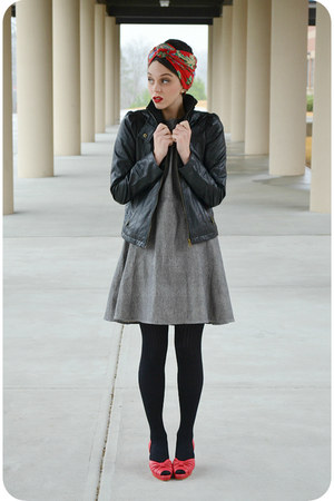heather gray sailor moon Mata Traders dress - black leather Steve Madden jacket