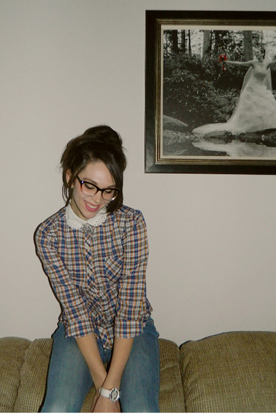 navy thrifted plaid blouse - sky blue Old Navy jeans - white watch
