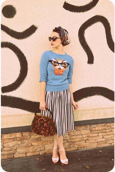 sky blue cat eyeglasses Louche sweater - maroon inherited purse