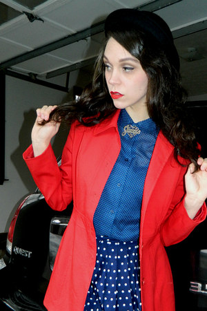 red thrifted blazer - black bowler Charming Charlie hat