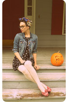 black cat print Sweet Rain dress - blue denim American Eagle jacket