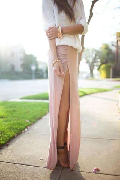 skirt - cream sweater - gold bracelets accessories