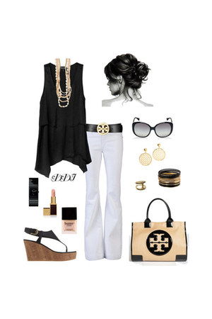 black tory burch bag - white white flare James Jeans pants