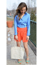 Express shirt - Aqua skirt - Rebecca Minkoff heels