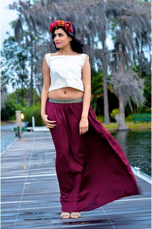 ivory zikhna top - maroon Zara skirt - hot pink H&M hair accessory