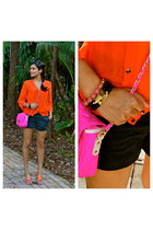 hot pink Forever 21 bag - carrot orange Kookai shirt - gray J Crew shorts