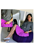 charcoal gray Zara sweater - magenta ted baker skirt