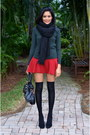Black-zara-scarf-black-knee-high-socks-h-m-socks-forest-green-zara-top