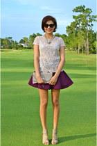 deep purple H&M skirt - light pink karen millen top