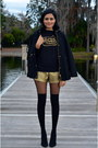 Black-zara-coat-gold-urban-outfitters-shorts-black-le-motto-top