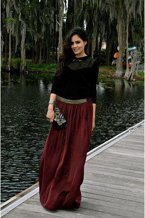 crimson Zara skirt - black Kookai sweater
